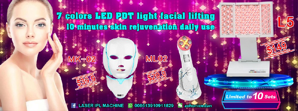 Christmas Promotion!!7 colors LED PDT light facial lifting beauty machine.